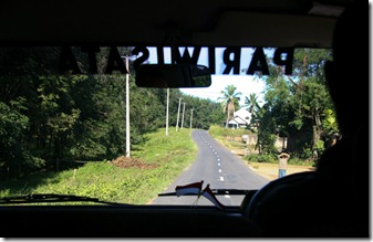The view from the back seat of the Pondok Kencana van